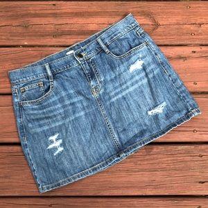 Ripped denim miniskirt